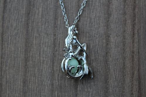 Sitting Mermaid Glow in the Dark Necklace