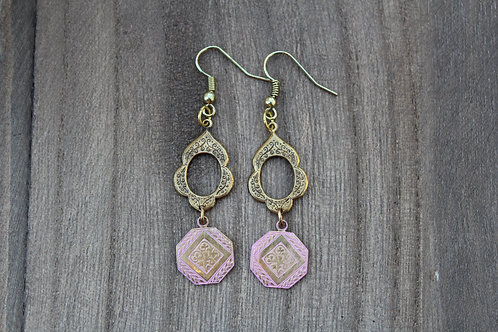 Antique Pink & Gold Earrings