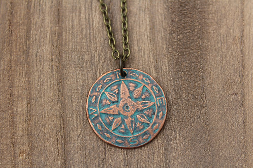 Distressed Compass Necklace