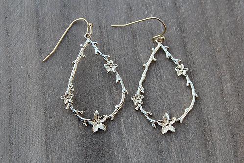 Gold Flower Hoop Earrings
