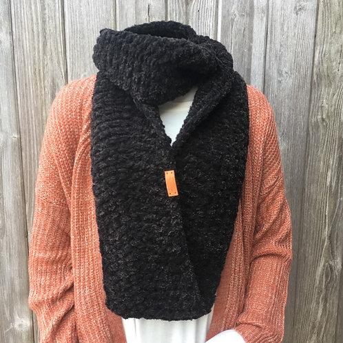 Black Tweed Handmade Infinity Scarf