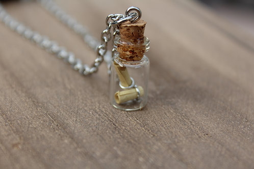 Small Message In a Bottle Vial Necklace