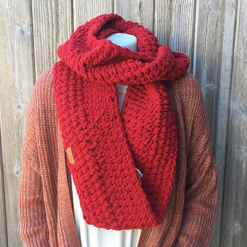 Red Handmade Infinity Scarf