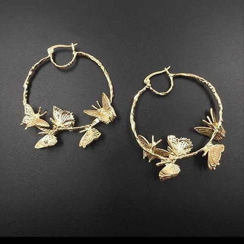 Butterflies Hoop Earrings