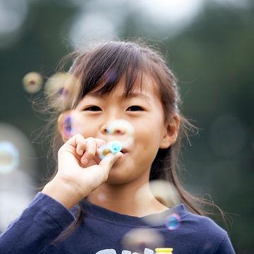Girl breathing exercises