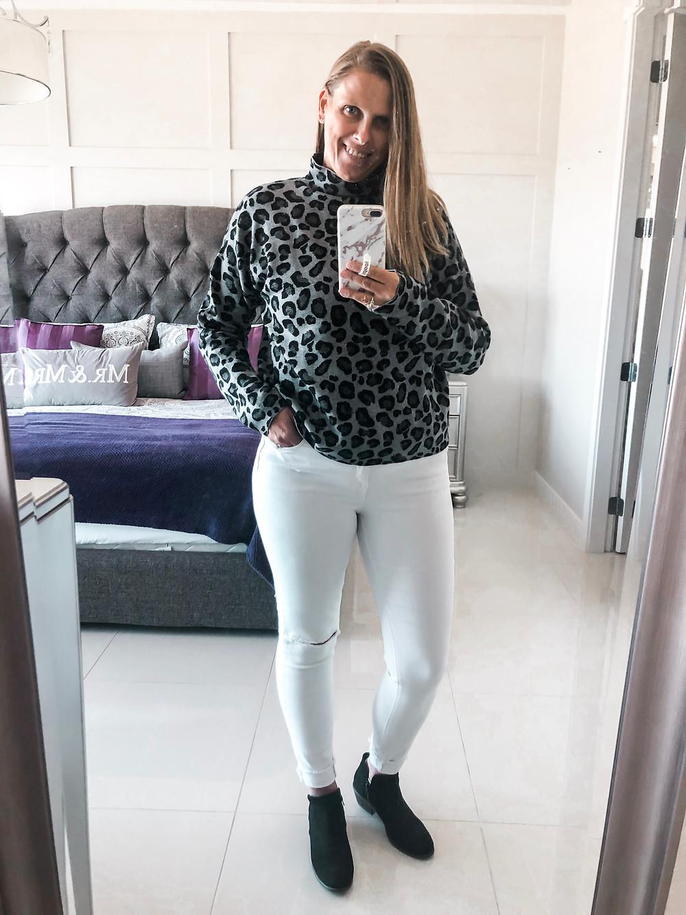 grey leopard sweater