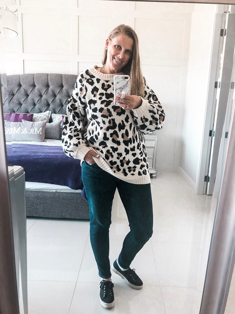 leopard fall sweater
