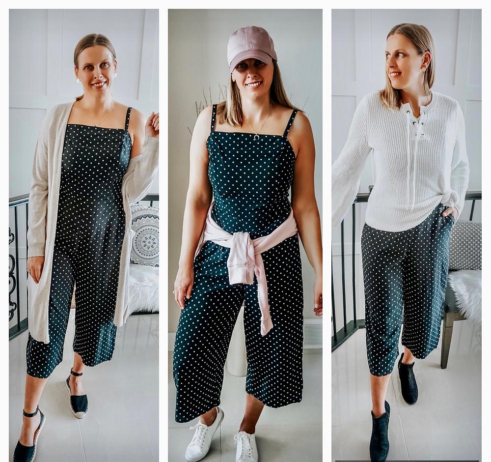 polka dot jumpsuit styled 3 ways
