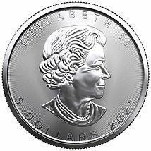 2021, Silver Maple Leaf Coin, .9999, 1-troy oz.