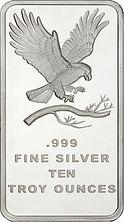 SilverTowne 10 troy oz. Silver Bar,   Eagle Design, .999