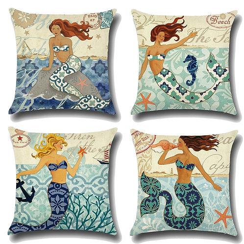 Set of 4 Cushion Covers-Mermaid