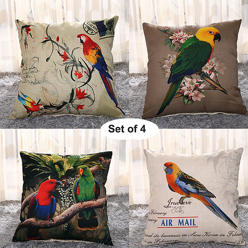 Set of 4 Cushion Covers-Parrot