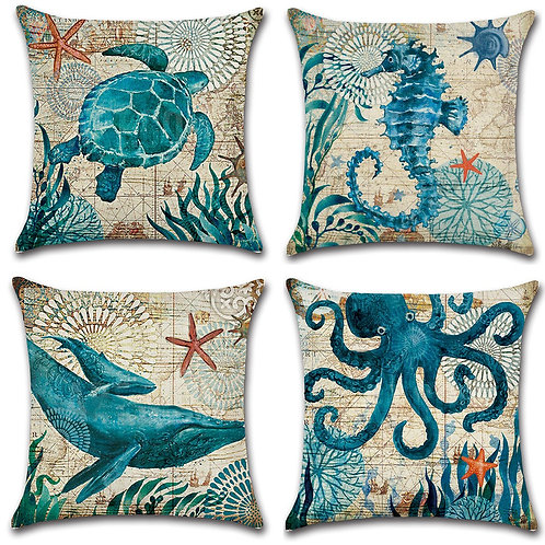 Set of 4 Cushion Covers-Ocean Creature