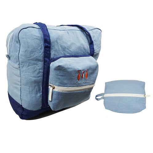 Travel Baggage Bag-Denim Fabric