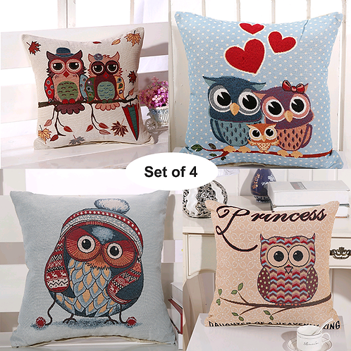 Set of 4 Cushion Covers-Owl