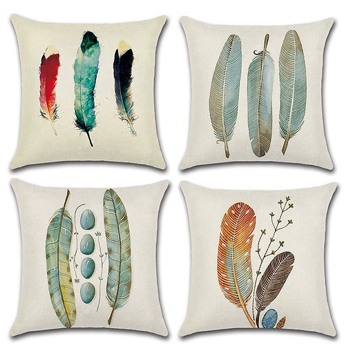 Set of 4 Cushion Covers-Feather