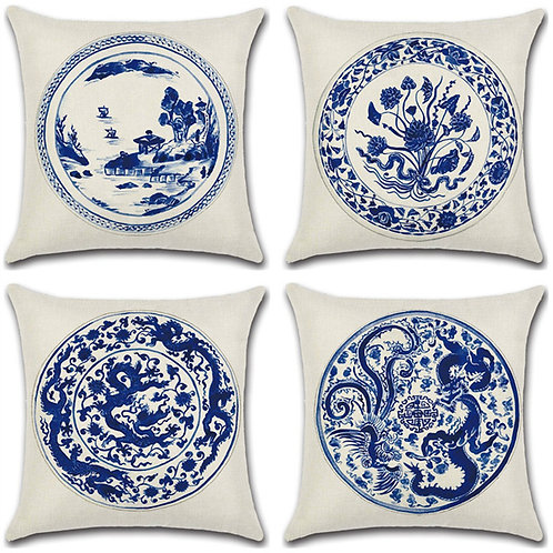 Set of 4 Cushion Covers-Chinese Style