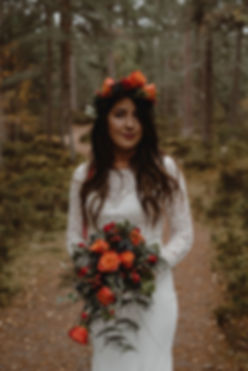 Wedding Makeup with Autumn flower crown and bouquet