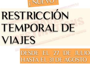 NUEVA RESTRICCIÓN TEMPORAL DE VIAJEROS CON DESTINO ESPAÑA