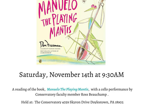 """Story Book Concert: """"Manuelo the Playing Mantis"""""""