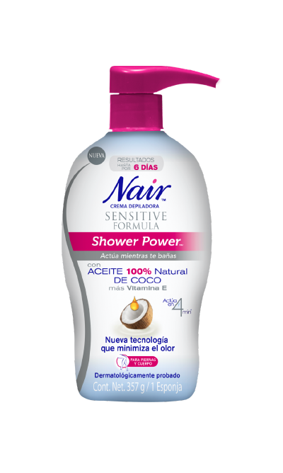 Nair Crema Depiladora Sensitive Formula Shower Power Coconut Oil (357 ml)