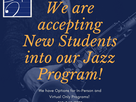 Accepting New Students for our Jazz Program!