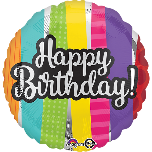 "Happy Birthday colors and Silver Ballon (18"")"