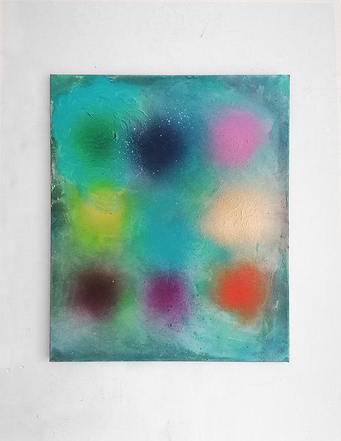 Monet Blue with fuzzy dots - Spray paint, oil, acrylic - 40 x 50cm - 2021