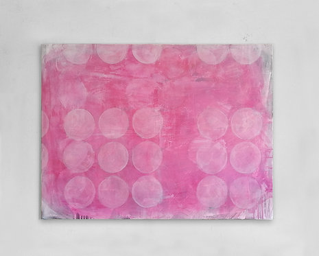 Pink Abstract with White Circles