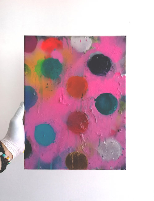 Pink(sugary) with Colored Dots -  spray paint, acrylic, oil - 30 x 40 cm - 2020