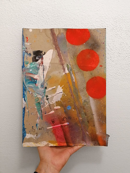 Orange and Beige Abstract -  spray paint, acrylic, oil - 30 x 40 cm - 2020