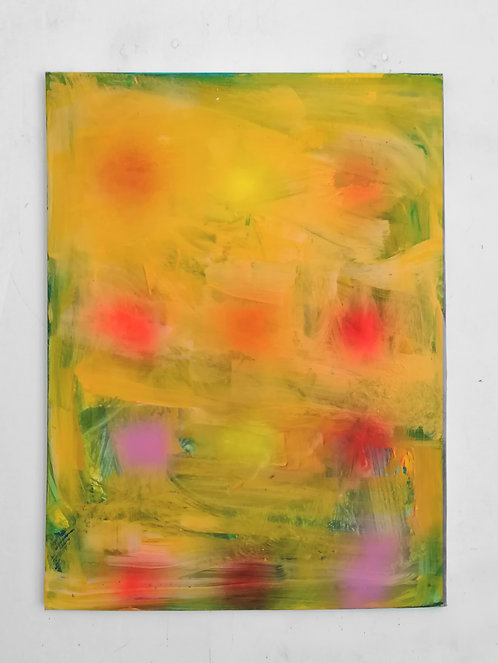 Venetian Yellow, 80 x 60 cm, acrylic, oil, spray paint on canvas, 2020