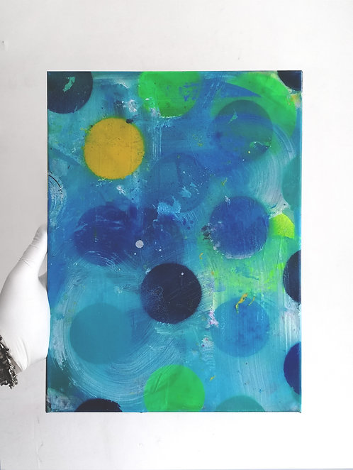 Baby Blue with Yellow Dot -  spray paint, acrylic, oil - 30 x 40 cm - 2020