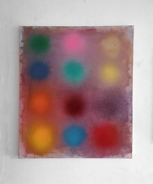Purple (Haze)  w Fuzzy Dots -  spray paint, acrylic, oil - 60 x 70 cm - 2020