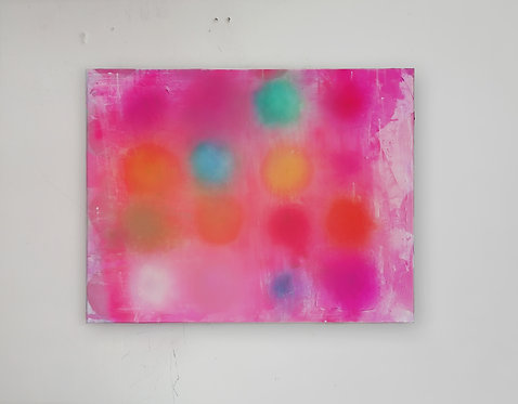 Brigh Pink Abstract with Color Balls
