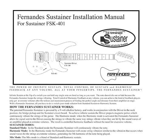 2001-2018 Fernandes FSK-401 Sustainer Installation Manual