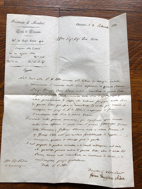 Antique Italian  (?) 1830 Hand Written Letter