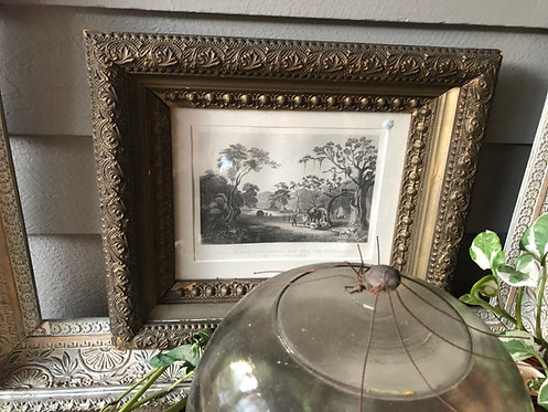 Antique Gesso Frame w/Safari Litho + Matte