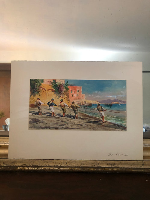 Fulvio Tessitore Italian Watercolor, 1930's