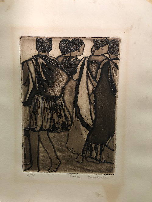 Vintage African Tribal Mother's + Babies Lithograph