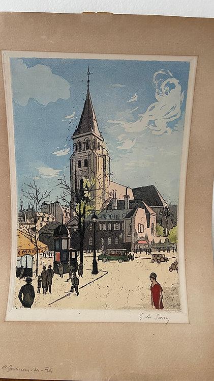 Paris St. Germain Square Hand-Colored Serigraph?Aquatint, signed G.A. Simon