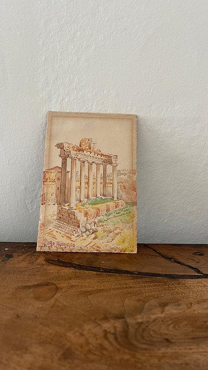 Small Hand-Colored Roman Watercolor The Forum