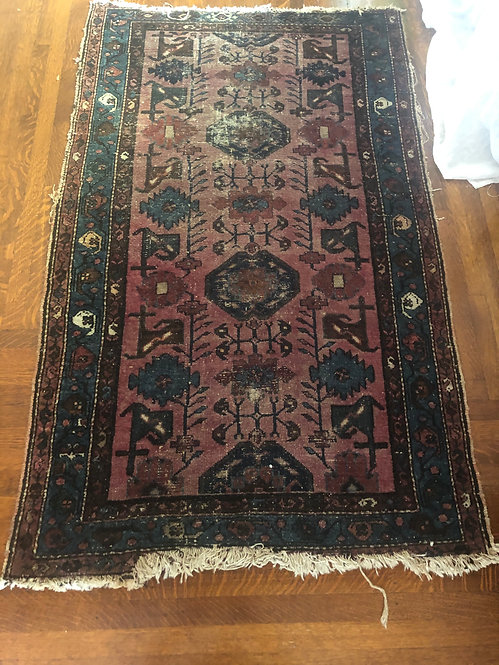 "Antique Persian Rug 42"" x 74"" Purple + Cobalt Blue Geometric Patterns"