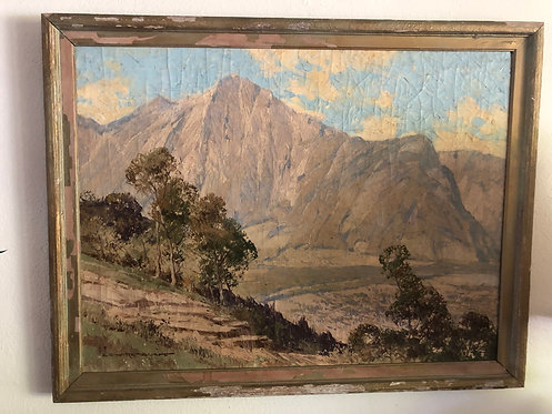 Vintage Plein Air Mountainscape Oil Painting, Signed ECW Retzlaff- Listed Artist