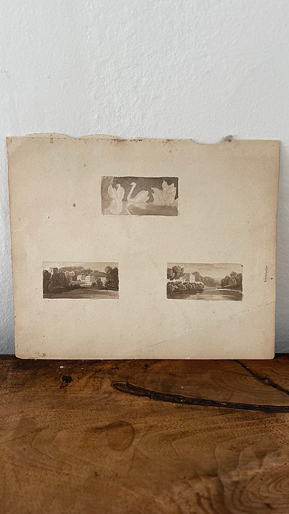 Antique Sepia Toned Watercolor Triptych: Geese & Houses in Country Landscapes
