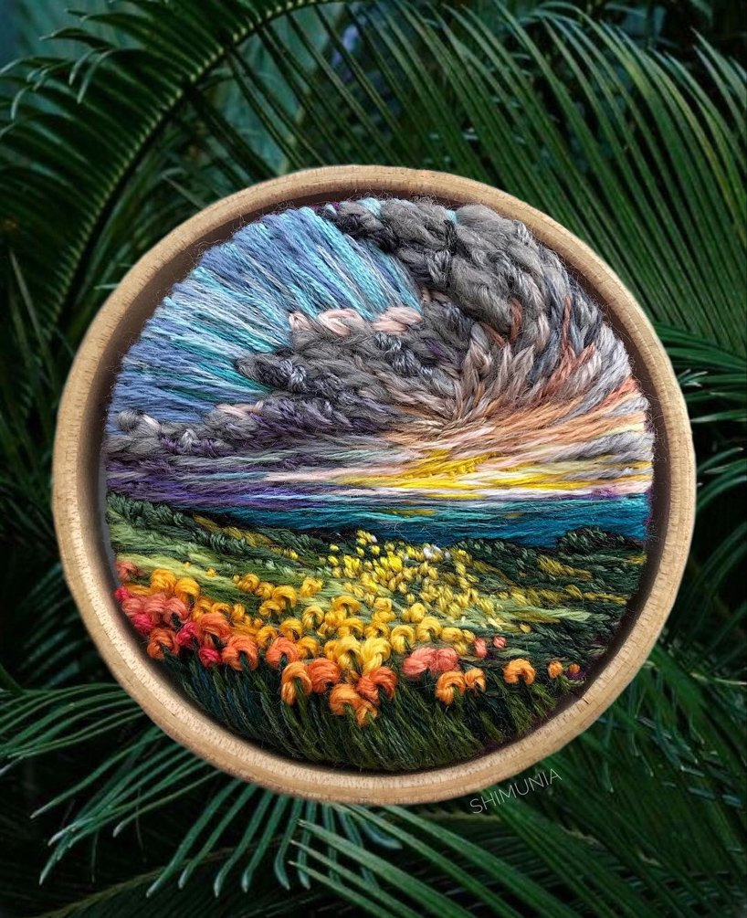 Stitched Landscape in a Hoop