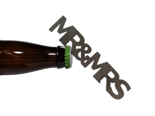 """""""Mr and Mrs"""" Bottle Opener Magnet"""