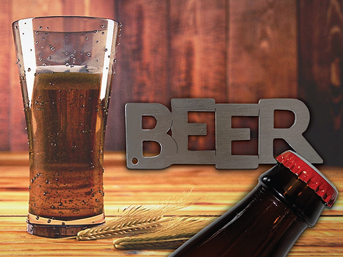 """Beer"" Bottle Opener Keychain - Laser Cut"