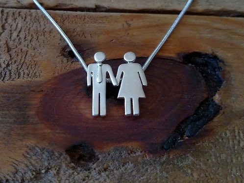 """Man and Woman Pendant Necklace - """"Love is Love"""" Collection"""