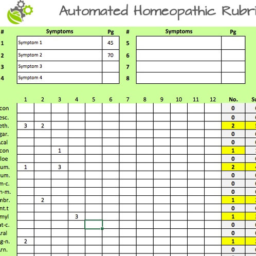 Automated homeopathic rubric